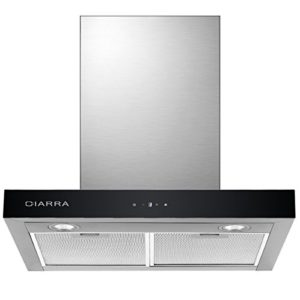 Ciarra Cappa aspirante 60cm  550 m3h Aria di scaricoricircolo  3 gradini  Max Acciaio inox  LED  Display LCD  argento Classe di efficienza energetica C