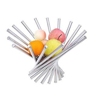 Creativo pieghevole in acciaio INOX fruttiera Kitchen  dining Table Decoration Fruit basket argento
