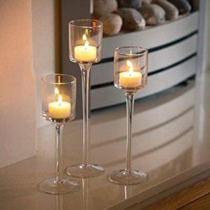 Artis  Set di 3 eleganti portacandele in vetro da usare come centrotavola per matrimoni