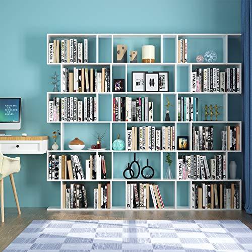 Bianco Homfa Scaffale Libreria Mobile Soggiorno in Legno Mobile per Archiviazion Carico 30 kg 70 /× 23.5 /× 190.5cm